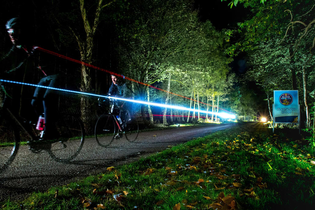 Competitors race at Red Bull Timelaps during the night in Windsor.