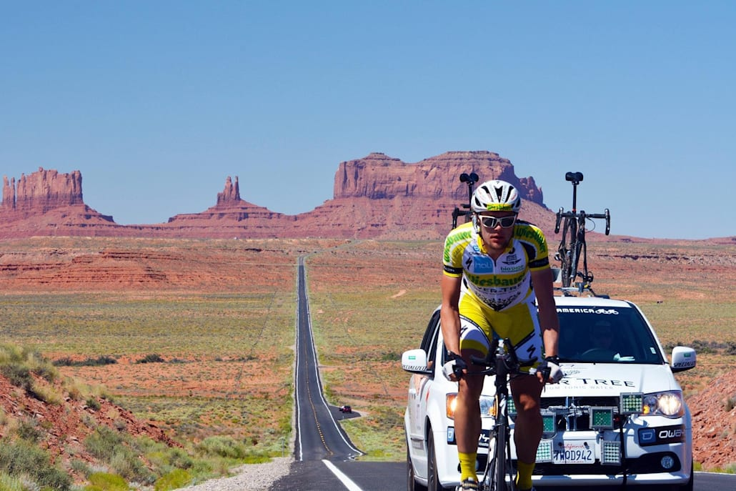 A competitor takes part in the Race Across America.