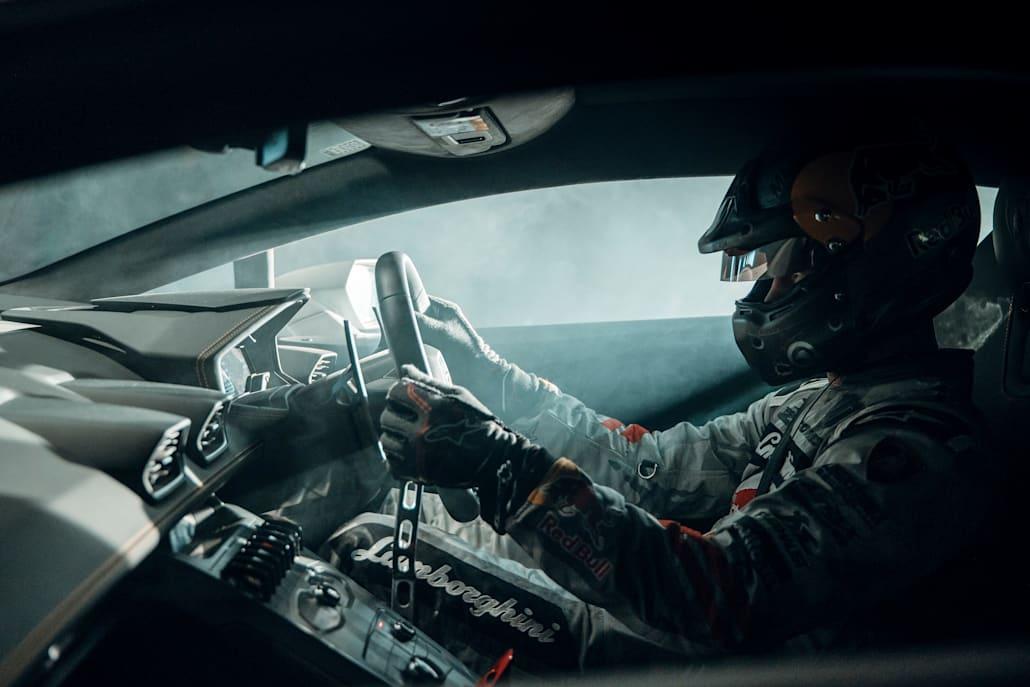 Mad Mike and his custom Lamborghini 'NIMBUL' put Barrett through his paces.
