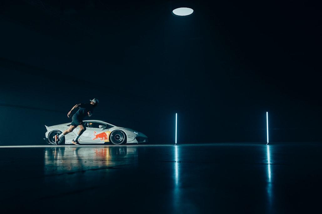 Beauden Barrett races Mad Mike's custom Lamborghini Huracan 'NIMBUL'.
