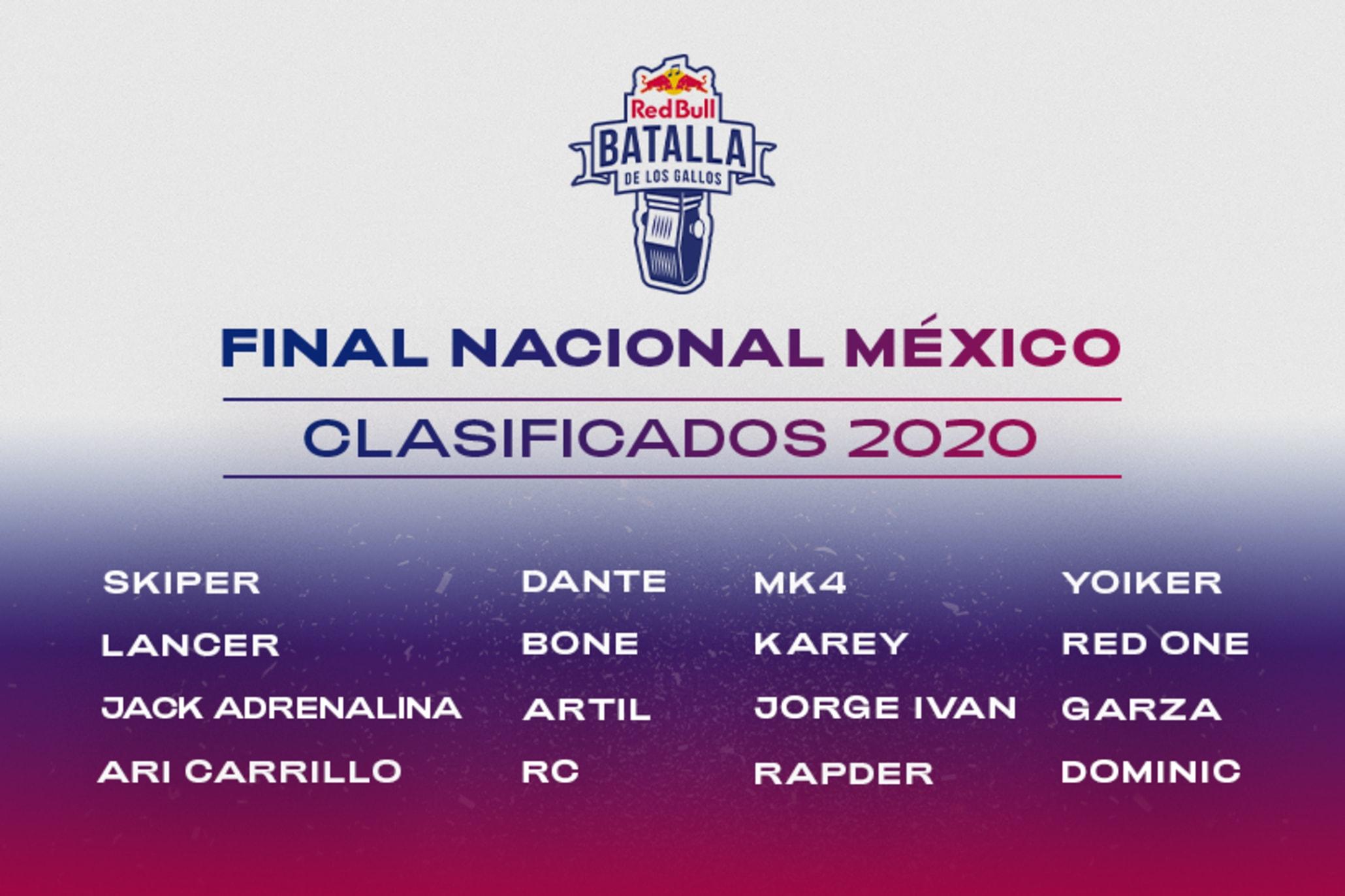 CLASIFICADOS FINAL NACIONAL RED BULL BATALLA DE LOS GALLOS MEXICO 2020
