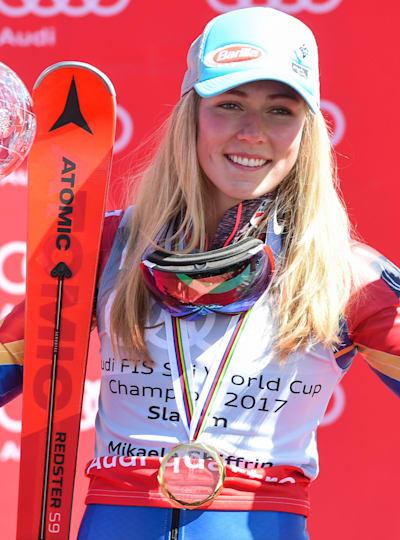 Mikaela Shiffrin celebrates in Aspen