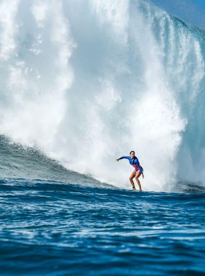 Emily Erickson rides a big wave