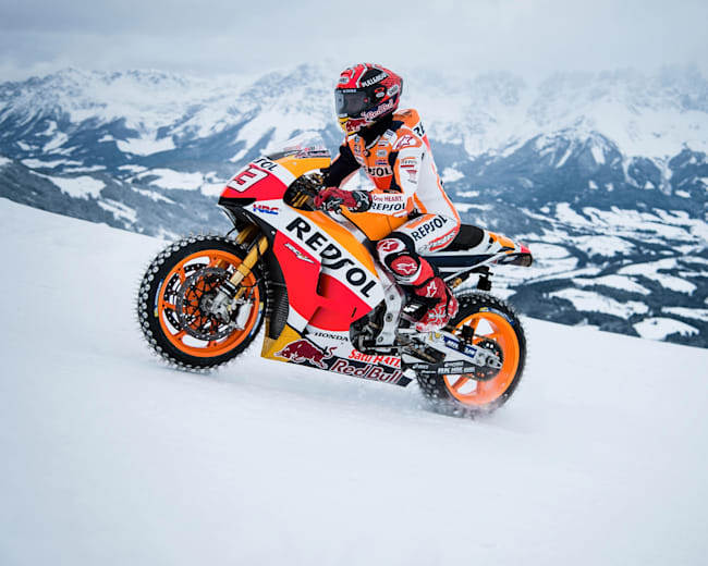 Marc Marquez:rides his MotoGP bike up the mountain