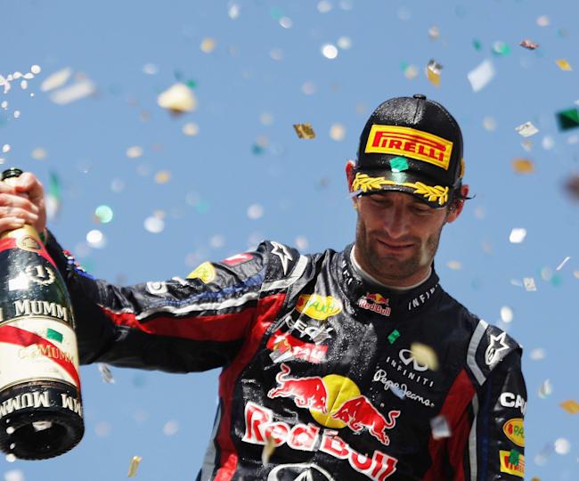 Mark Webber po výhre v Sao Paule v roku 201