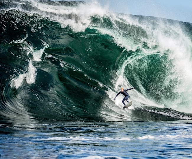 World champion surfer Mick Fanning takes the drop
