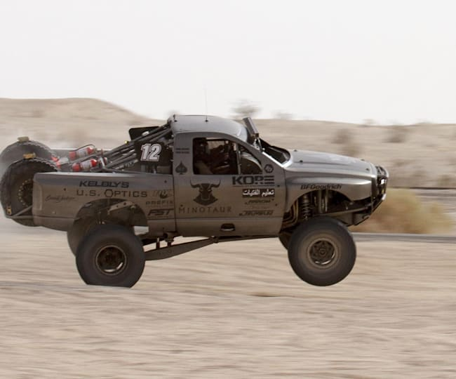 It's rare to get all four wheels down at Baja 1000