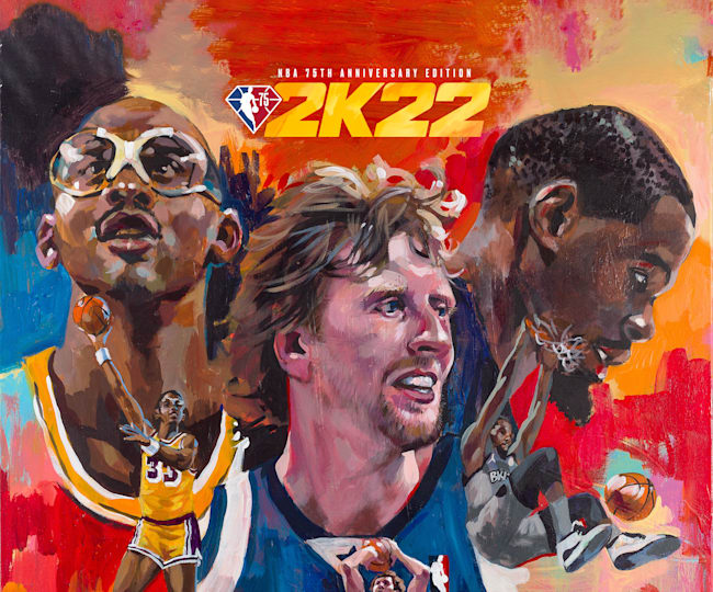 Charly Palmer's painting for the forthcoming NBA 2K22 video game.