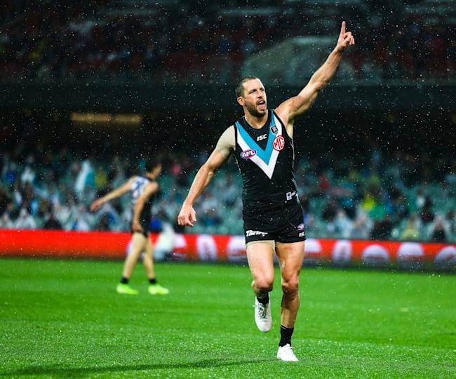 Travis Boak celebrates during a game.
