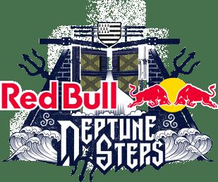 Logo du Red Bull Neptune Steps, course de natation à obstacle.