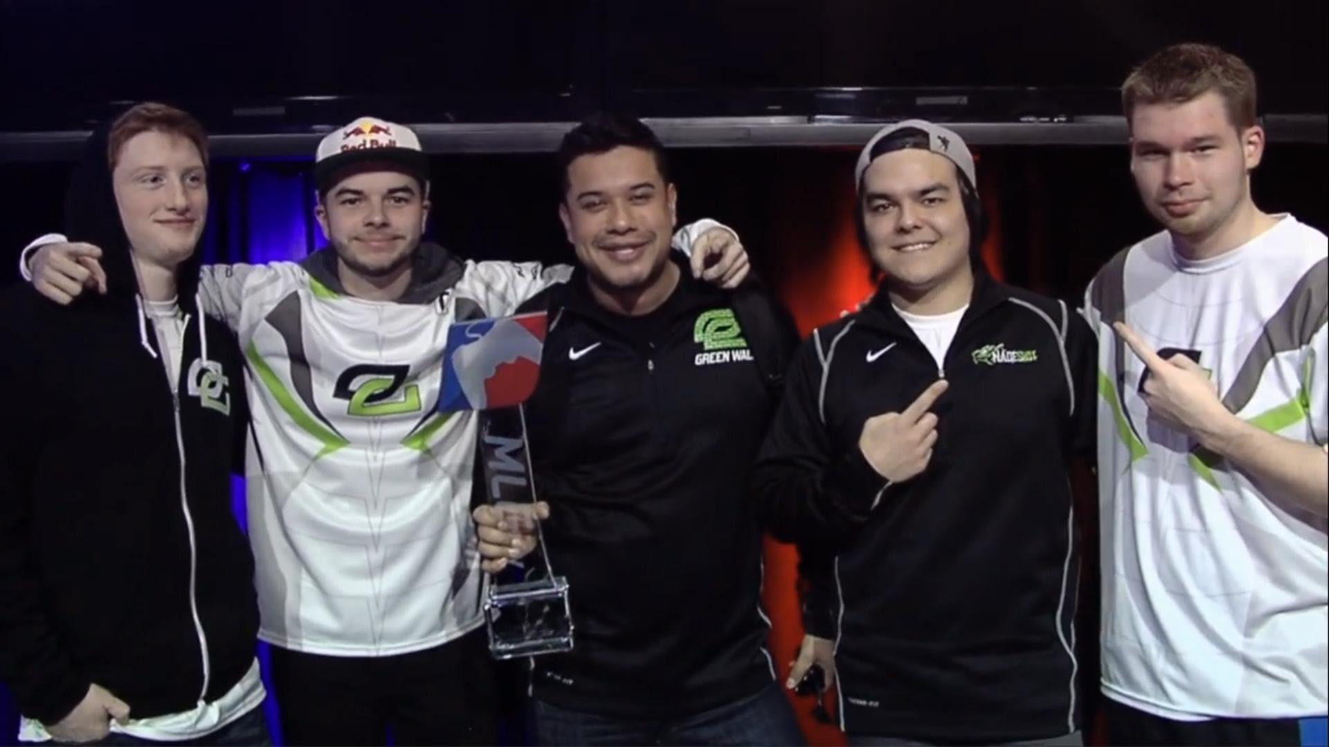 OpTic Gaming with the MLG Championship Trophy