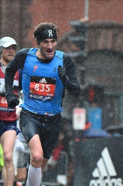 IRONMAN triathlete Tim Don runs in the 2018 Boston Marathon.