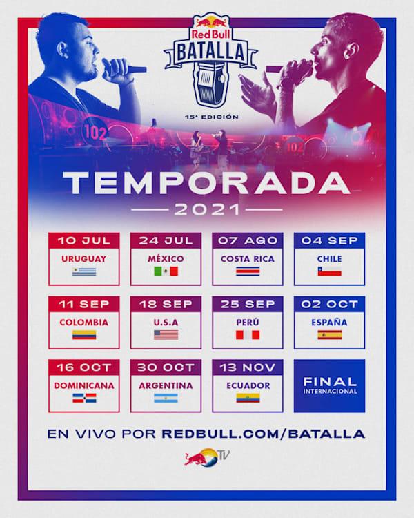 Calendario completo temporada 2021 Red Bull Batalla